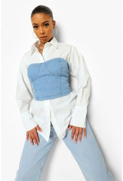 Light blue blue Cupped Denim Corset & Shirt 2 In 1