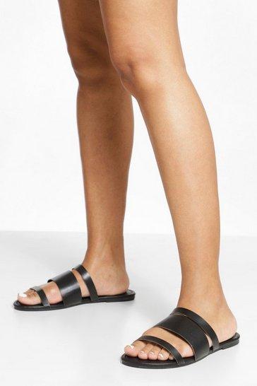 Black Wide Fit Strap Detail Sandals