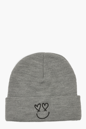 Grey Happy Face Rib Beanie