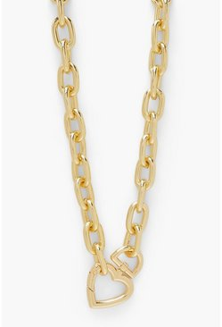 Gold metallic Heart Lock Clip Chunky Chain Necklace