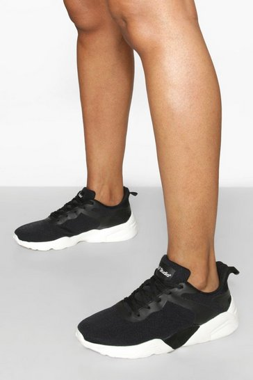 Black Knitted Sports Trainer