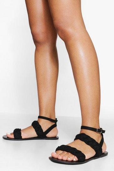 Black Double Plait Sandal