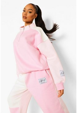 Pink Official Colour Block Sweater Met Korte Rits En Label