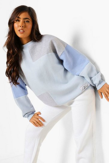 Blue Pink Official Label Colour Block Sweater