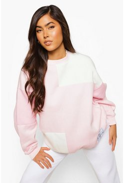 Pink Official Label Colour Block Sweater