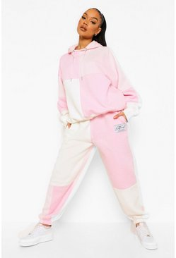 Pink Tonal Patchwork Colour Block Tracksuit