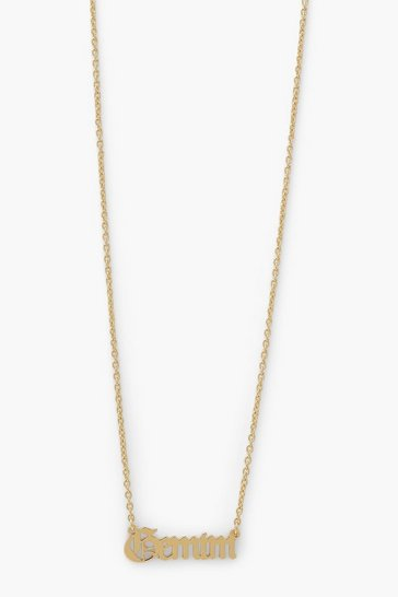 Gold metallic Zodiac Gemini Necklace