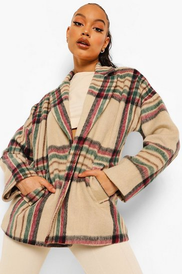 Stone beige Check Oversized Short Wool Look Coat