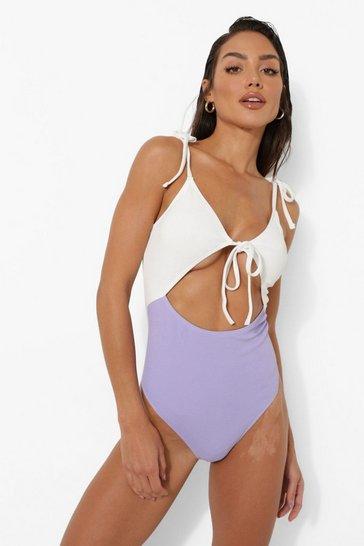 Lilac purple Pastel Textured Keyhole Detail Swimsuit