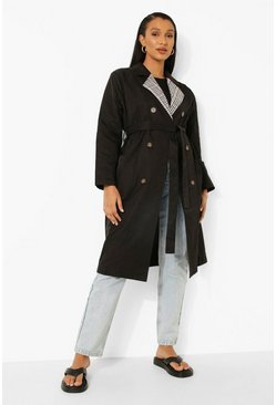 Check Collar Belted Trench Coat, Black noir