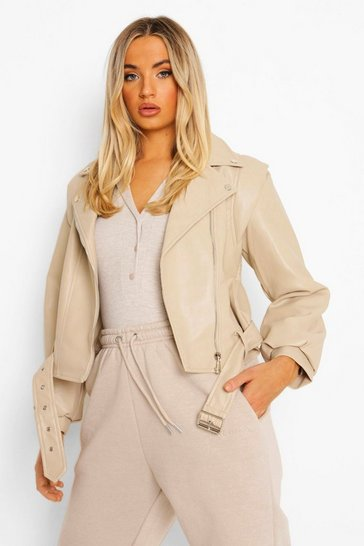 Beige Shoulder Detail Faux Leather Biker Jacket