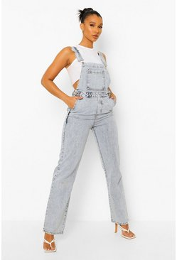 Boyfriend Fit Denim Dungarees, Bleach wash