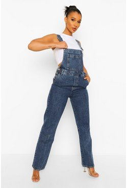 Boyfriend Fit Denim Dungarees, Washed indigo bleu