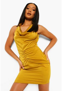 Mustard yellow Satin Cowl Neck Shirt Dress