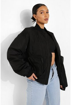 Black Oversized Pocket Detail Bomber Jacket