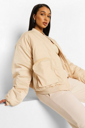 Stone beige Oversized Pocket Detail Bomber Jacket