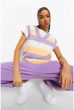 Lilac purple Pastel Stripe Knitted Tank
