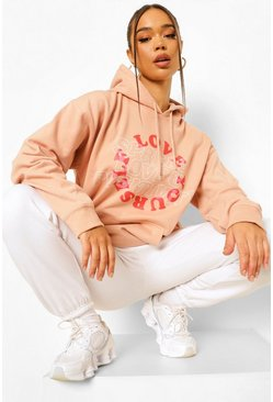 Dusky pink pink Love Yourself Oversized Hoodie