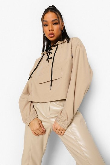 Stone beige Lace Up Pocket Detail Windbreaker