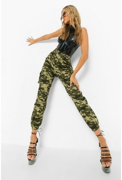 Khaki Pixelated Camo Print Cargo Trousers