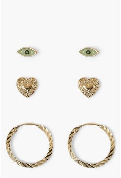 Gold metallic Eye Heart And Hoop 3 Pair Stud Pack