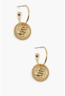 Mini Snake Drop Coin Hoop Earrings , Gold metallizzato