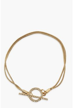Gold metallic Double Thread Diamante Disc Toggle Bracelet