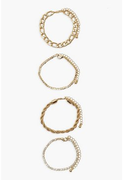 Gold metallic Chain And Diamante Twist Bracelet Pack