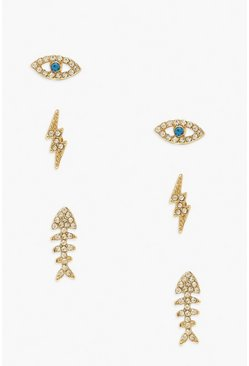 Gold metallic Lighting Bolt Mix Stud Earring Pack