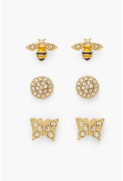 Gold metallic Yellow Bumble Bee And Butterfly Stud Pack