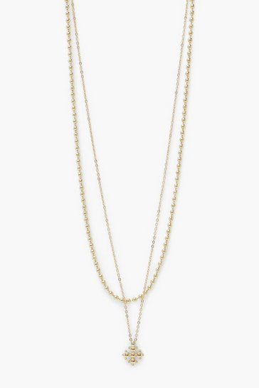 Gold metallic Bobble Disc Chain Detail Layered Necklace