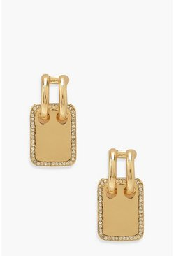 Removable Tag Diamante Earrings , Gold metallizzato