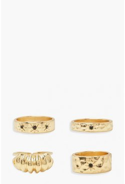 Gold metallic Black Stone Textured Surface Ring Pack