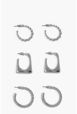 Silver Mix 3 Pack Bobble Twist And Square Hoops