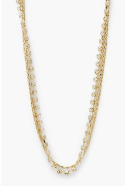 Gold metallic Chain And Diamante Layered Choker Necklace
