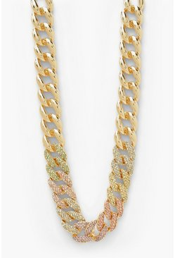 Gold metallic Pastel Pave Chunky Chain Necklace