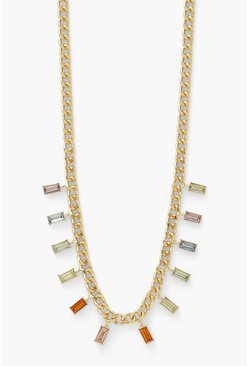 Square Drop Rainbow Diamante Necklace , Gold metallizzato
