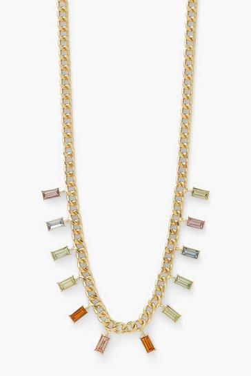 Gold metallic Square Drop Rainbow Diamante Necklace