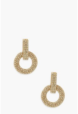 Gold metallic Prom Style Diamante Knocker Earrings