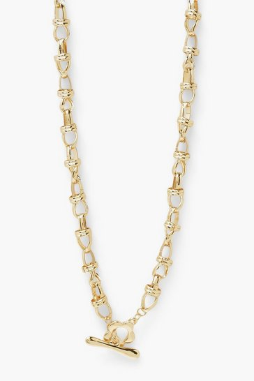 Gold metallic Flower T Bar Toggle Chunky Chain Necklace