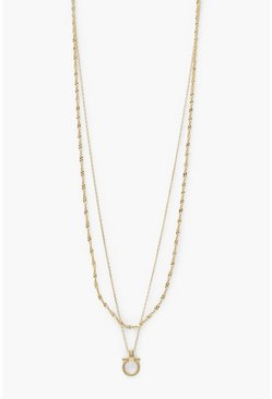 Gold metallic T Bar Knot Top Layered Necklace