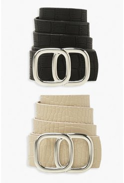 Black Double Ring Boyfriend Belt 2 Pack