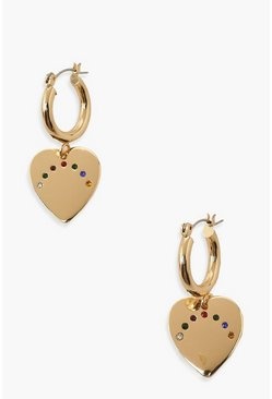 Gold metallic Rainbow Heart Drop Hoops