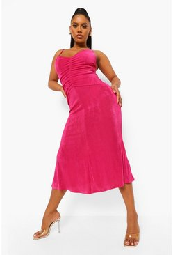 Fuchsia pink Slinky Rouched Front Midaxi Dress
