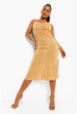 Gold metallic Slinky Rouched Front Midaxi Dress