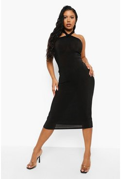 Black Slinky Halterneck Midaxi Dress