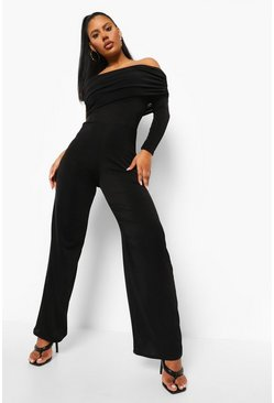 Black Textured Slinky Wide Leg One Sleeve Jumpsuit