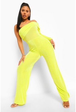 Lime green Textured Slinky Wide Leg One Sleeve Jumpsuit