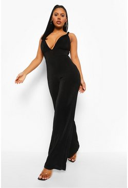 Black Textured Slinky Tie Detail Wide Leg Jumpsuit