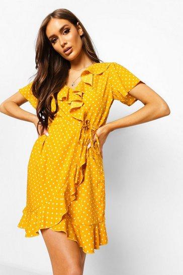 Mustard yellow Woven Polka Dot Wrap Front Ruffle Tea Dress